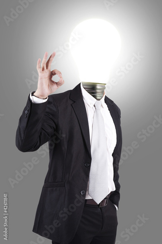 Business male with lamp-head