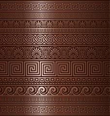 Seamless copper Greek ornaments