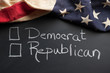 Democrat or republican sign with vintage American flag