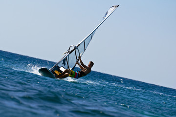 Front view of young windsurfer