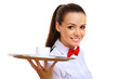 Young waitress with an empty tray