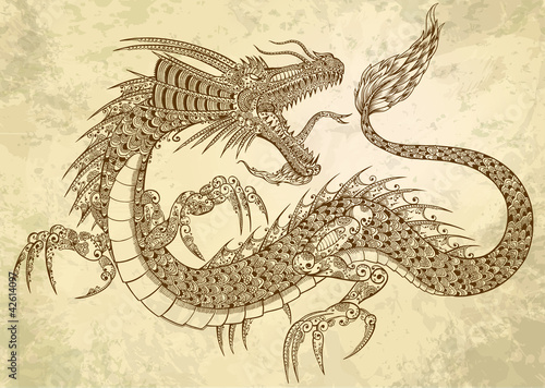 Henna Tattoo Dragon Doodle Vector