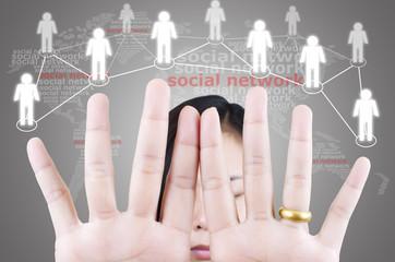 Business female pushing social network.