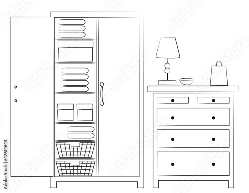 Sketch of wardrobe and chest of drawers