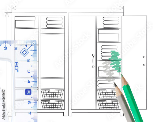 Pencil sketch of an open wardrobe