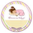 baby shower card with little baby girl play with her teddy