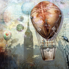 Flight of montgolfier in the city.