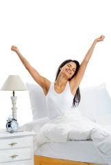 happy bed woman
