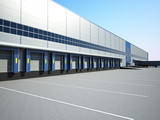 warehouse exterior. Loading docks