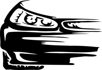 Racing emblem - black and white style of tribals