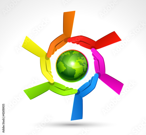 Color Hands Surrounding the Earth Globe. Vector