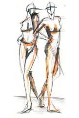 Illustration, Frauen, Akt