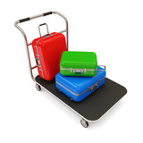 Service Cart with Luggage on white background