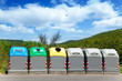 Ecologic selective trash containers by colors