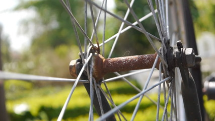 Bicycle wheel rotating close up