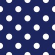 Vector seamless pattern with polka dots on navy blue background