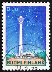 Postage stamp Finland 1972 Telecommunications Tower and Stars