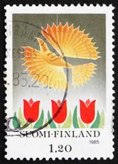 Postage stamp Finland 1985 Bird and Tulips, Christmas