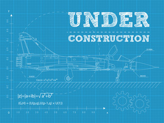 Under construction on a blueprint paper with airplane