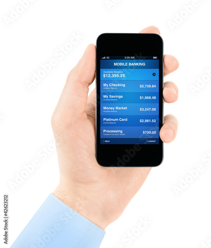Mobile banking application on modern smart phone