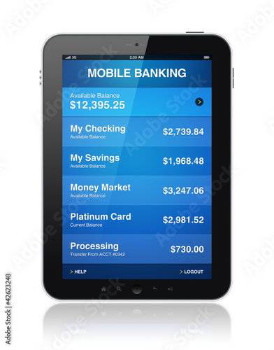 Mobile banking on digital tablet