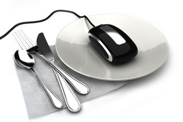Ordering food online, concept with mouse on a plate