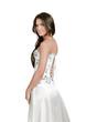 brunette sexy women in a white dress