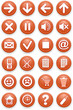 Set of icons. Pictograms of orange color.
