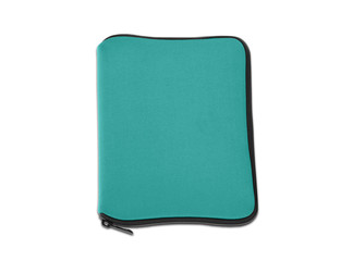 Green bag for laptop isolated
