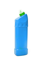 bottle of blue plastic cleaner