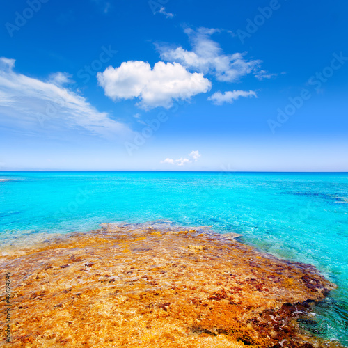 Formentera Es Calo beach with turquoise sea