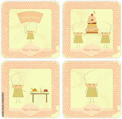 Vintage Set of kids menu Card Designs with chefs