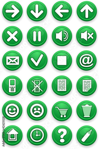 Set of icons. Pictograms of green color.