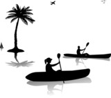 Man and woman kayaking near the palm trees silhouette