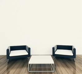 minimal modern interior armchair and table