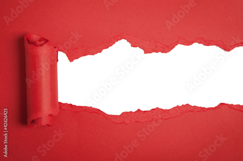 Torn red paper with space for text