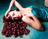 Fototapety beautiful woman with red hair and evening-dress / haircolors 09