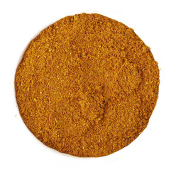 Curry spice powder isolated on white background