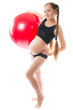 pregnant young woman  doing yoga on fitball