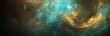 panoramic space scene with stars and nebula