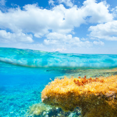 Ibiza Formentera underwater waterline blue sky