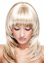 sensual young beautiful woman with blonde long hair