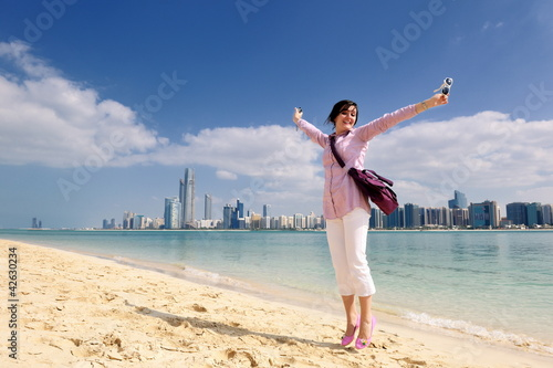 happy tourist woman