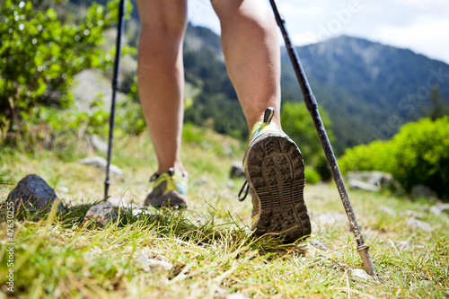 Leinwanddruck Bild Nordic walking legs in mountains