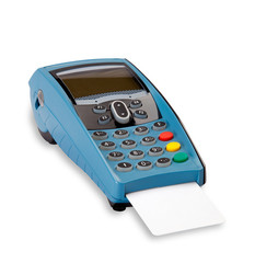 Pos with blank credit card with clipping path