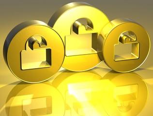 3D Open Padlocks Gold Sign