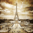 Eiffel tower from Trocadero monochrome vintage