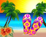 Ciabatte Infradito e Spiaggia Esotica-Flip Flops on the Beach