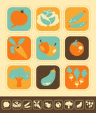 Set of vegetable icons, color and monochrome version