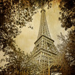 Eiffel tower and trees monochrome vintage